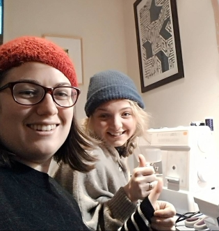 Sewing with Ashley in 2015.
